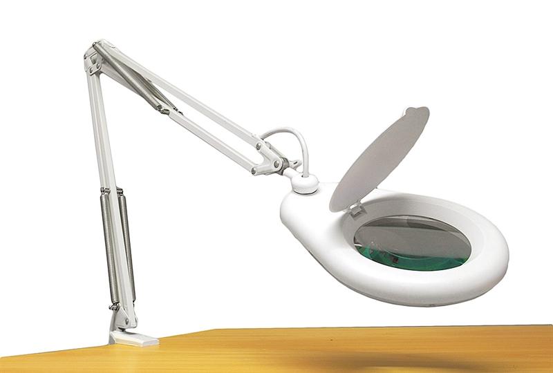 förstoringslampa med bordsfäste